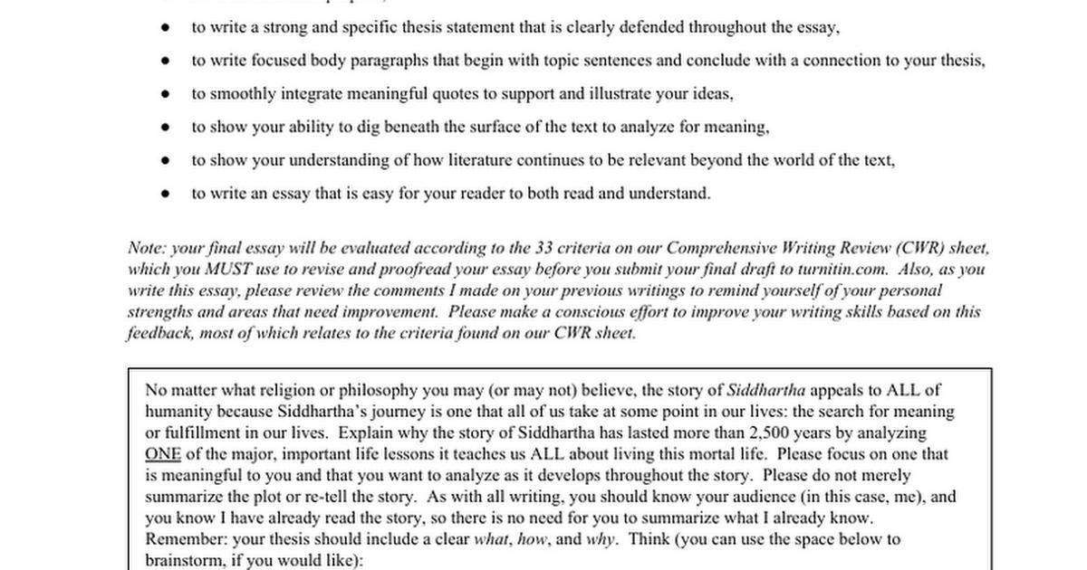 siddhartha essay thesis statement