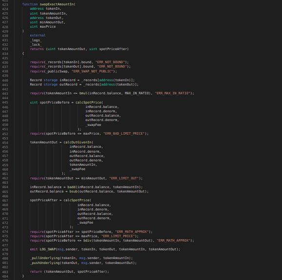 Balancer Codeblock: swapExactAmountIn function