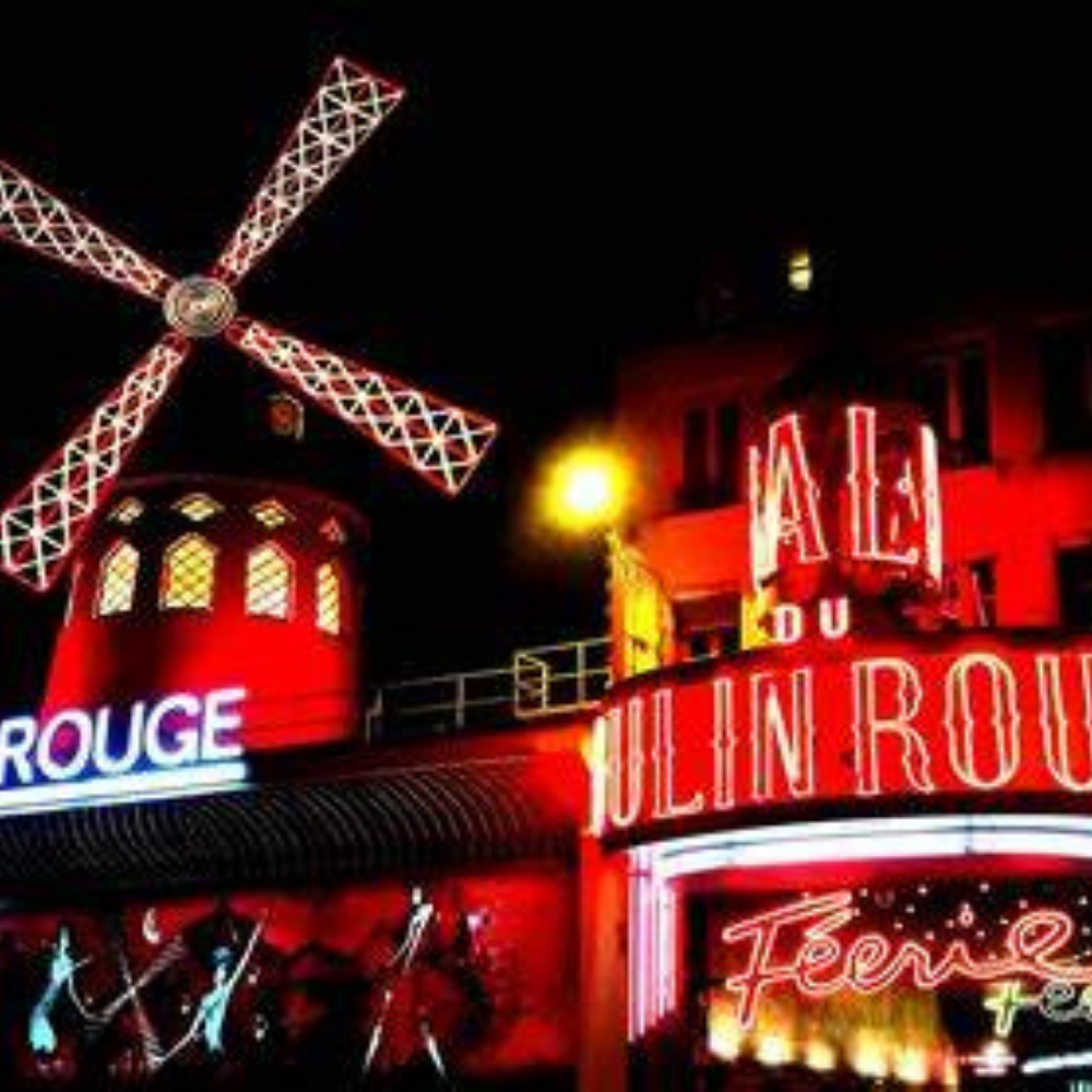The main entrance to the Moulin Rouge