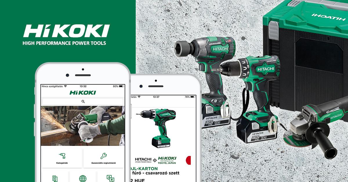 HIKOKI mobil applikáció - céges árukereső, online bemutatóterem és ügyfélszolgálat