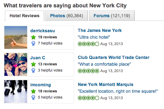 trip advisor front page