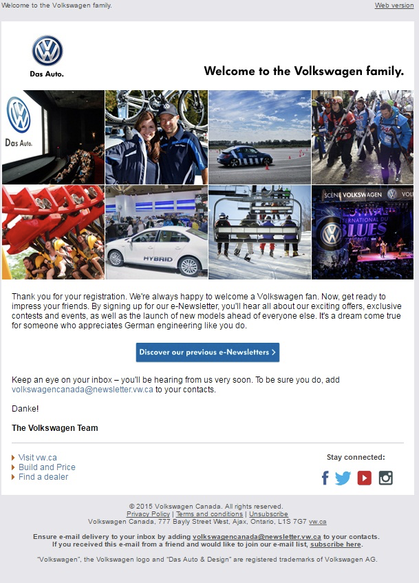 Volkswagen welcome email
