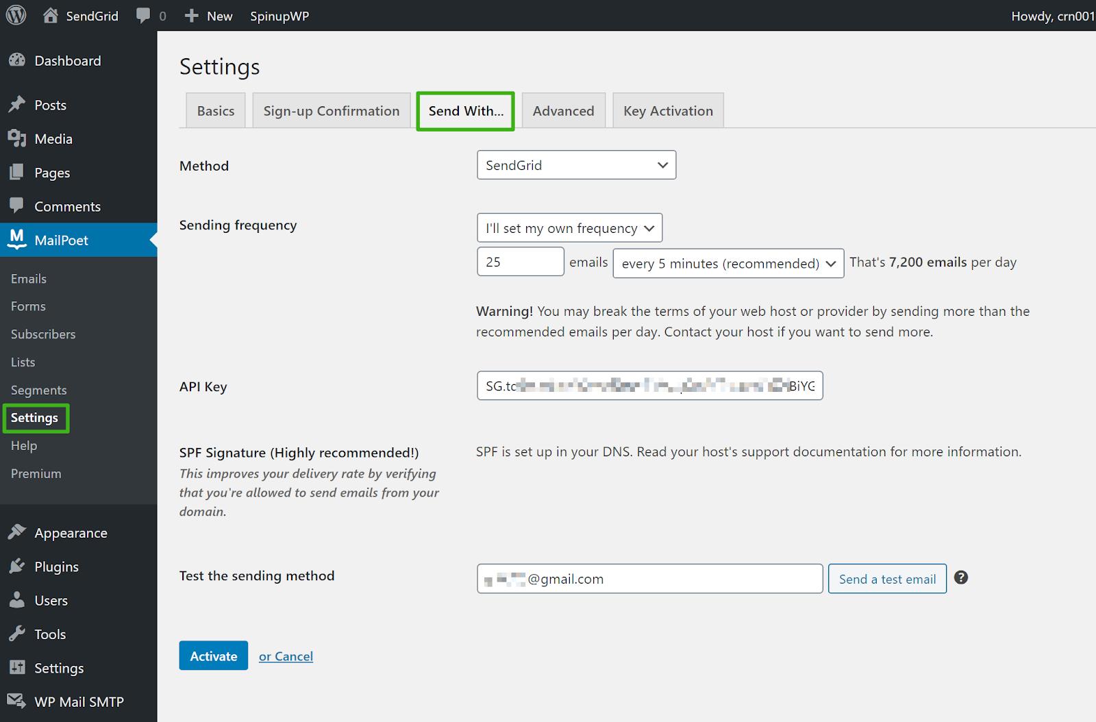 Screenshot of MailPoet's sending settings