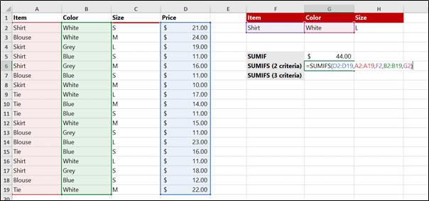 SUMIFS with normal cell reference for CRITERIA