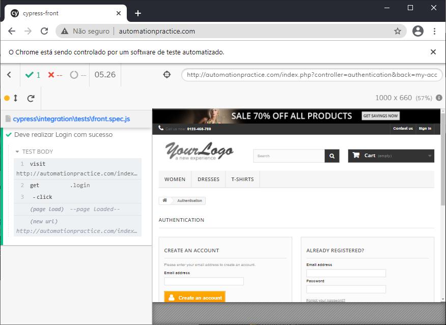 Print da tela do site usado para praticar automações no front-end onde podemos ver os resultados dos comandos executados.