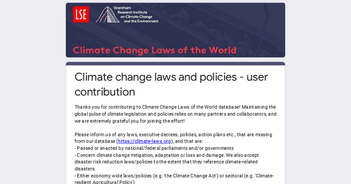 Climate change laws and policies - user contribution