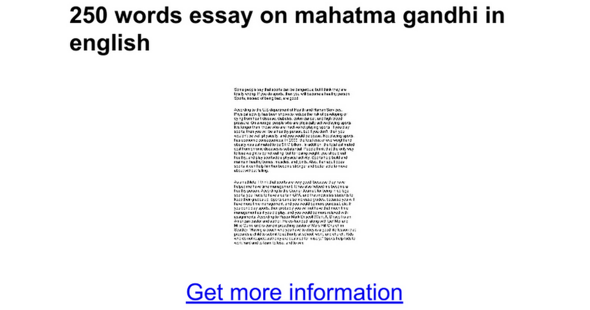 250 words essay on mahatma gandhi in english - Google Docs