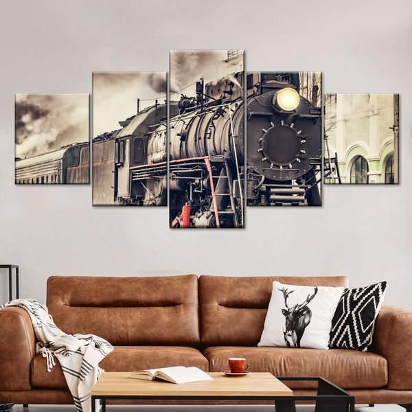 Classic Train Multi Panel Canvas Wall Art
