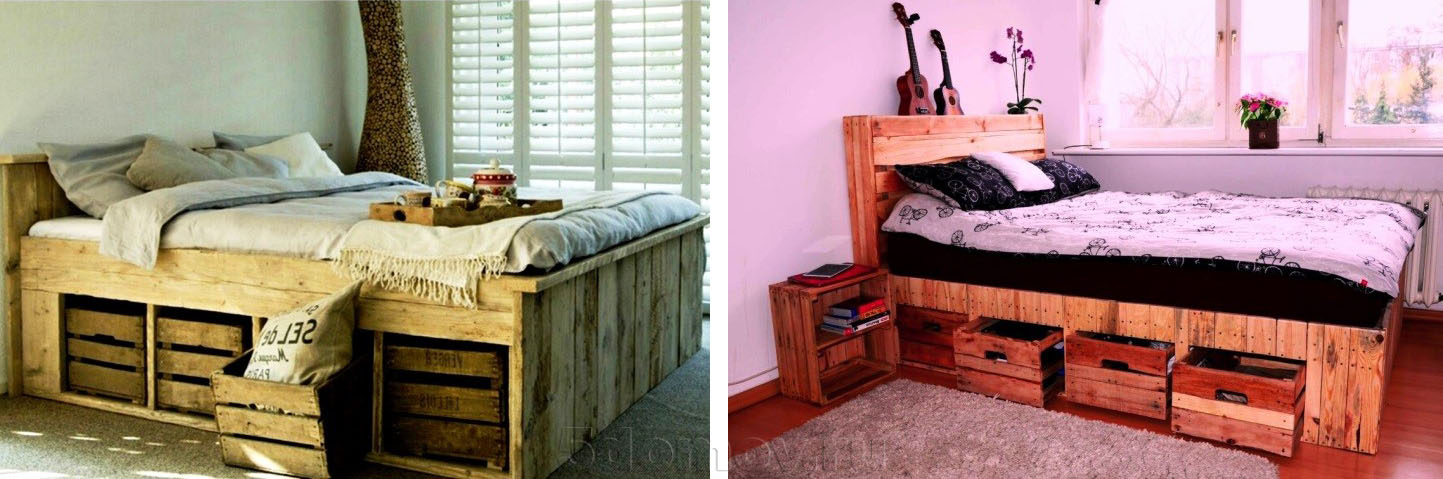 Кровать с ящиками из деревянных поддонов