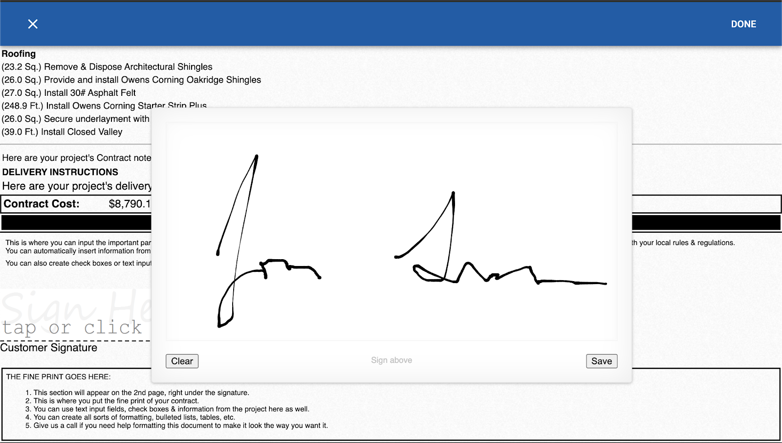 Collecting an electronic signature for your contract with RoofSnap
