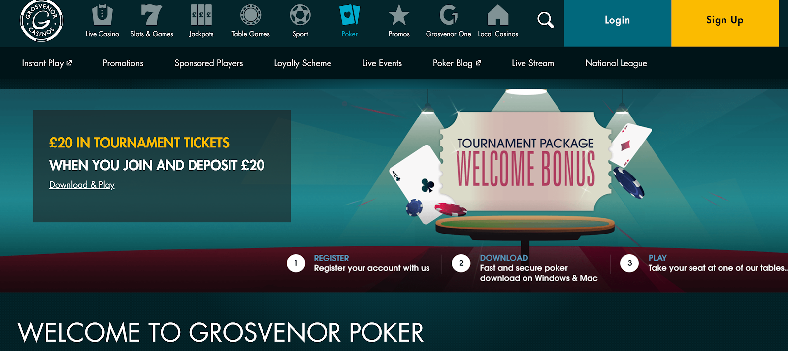 Grosvenor Casinos is an excellent site for live poker games