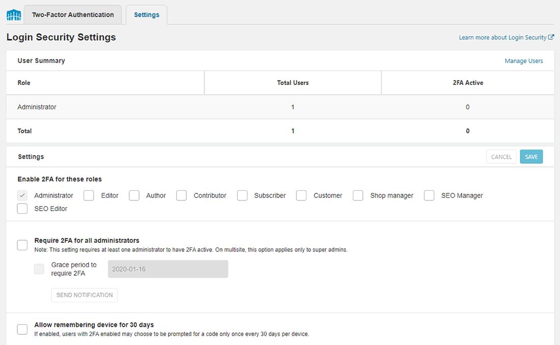 Tab Cài đặt bảo mật đăng nhập Wordfence