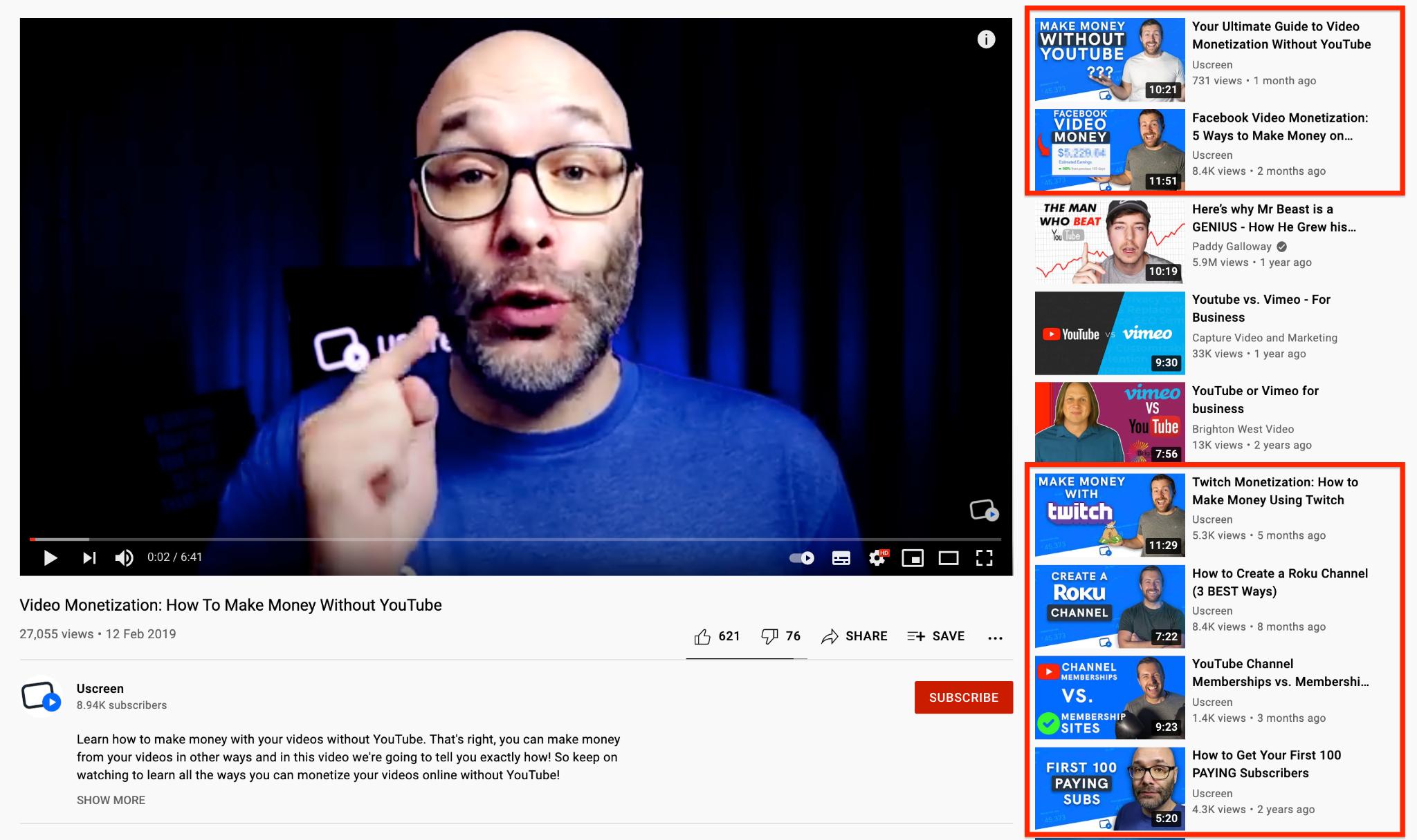 Uscreen youtube channel screenshot
