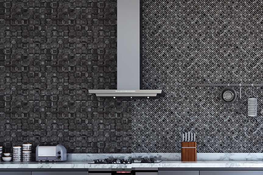 Comparison of backsplash tile with black grout and backsplash tile with white grout