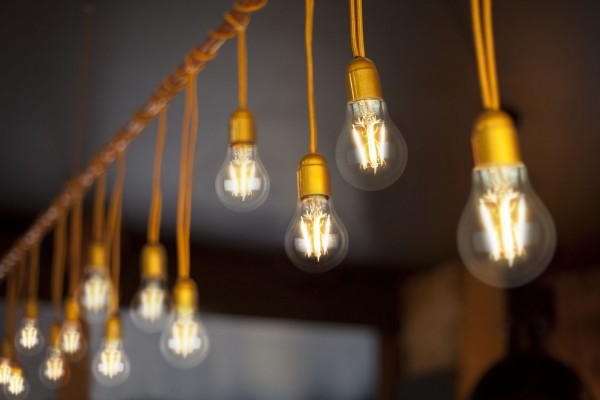 LED light bulbs hanging from string