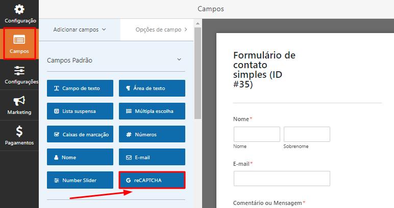 botão de adicionar reCAPTCHA em formulário do WPForms