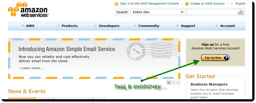 Регистрация на Amazon S3