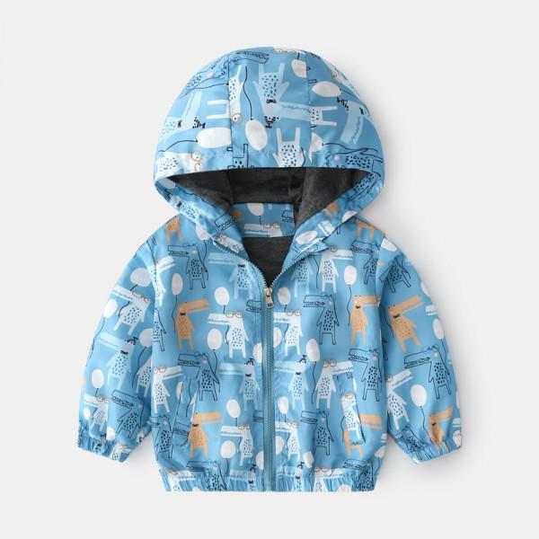 Toddler Boy Animal Windbreaker Hooded Jacket