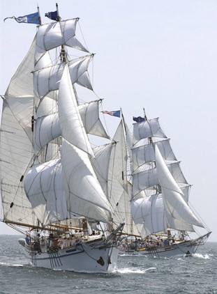 We'll be staying on one of these brigantine tall ships!