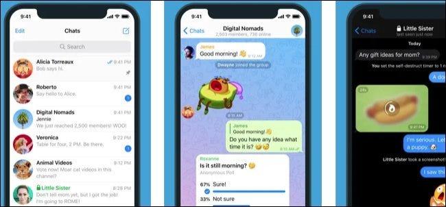 The Telegram app on an iPhone.