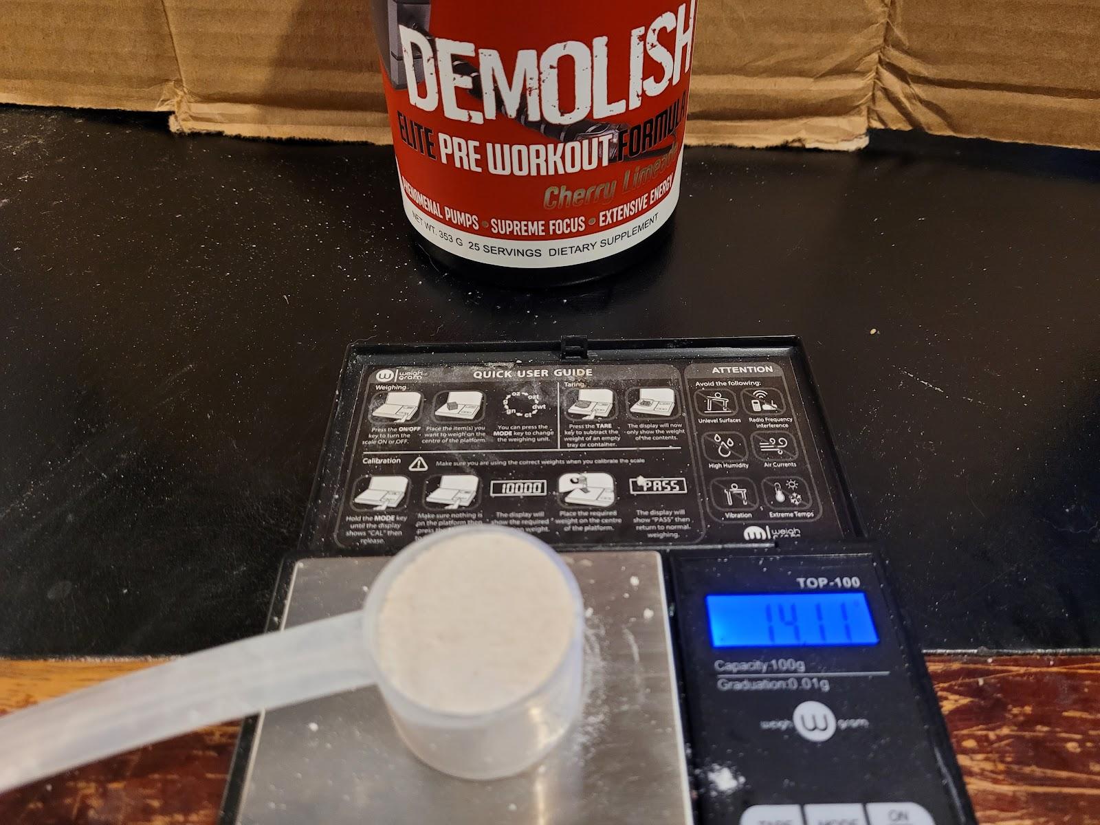 Demolish Pre Workout Scoop Size