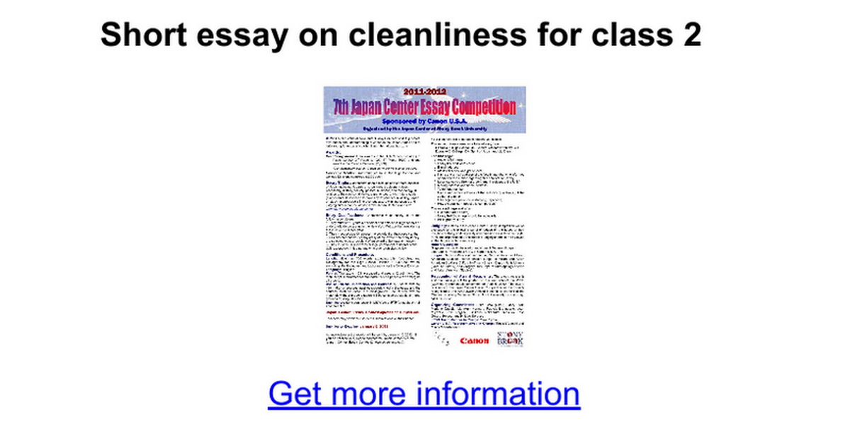 short essay on cleanliness for class google docs