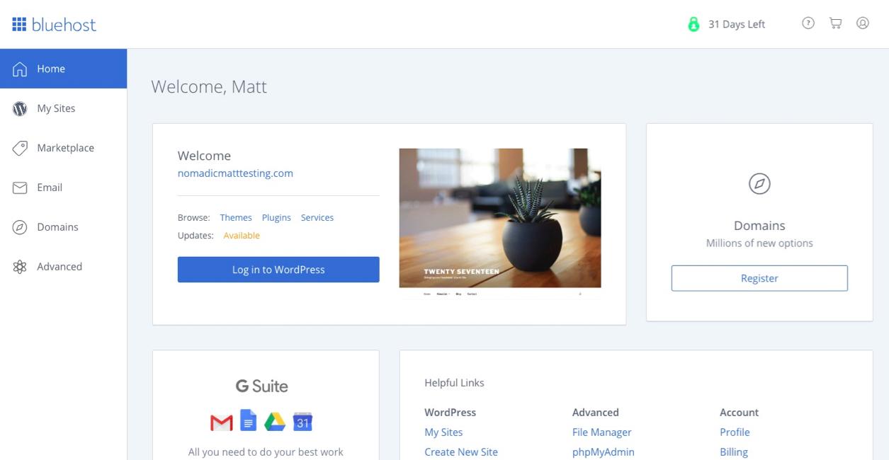 setting up WordPress on bluehost screenshot