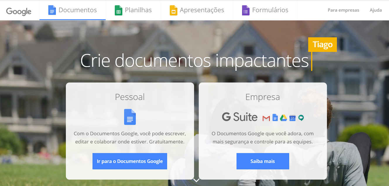 Página inicial do Google Documentos