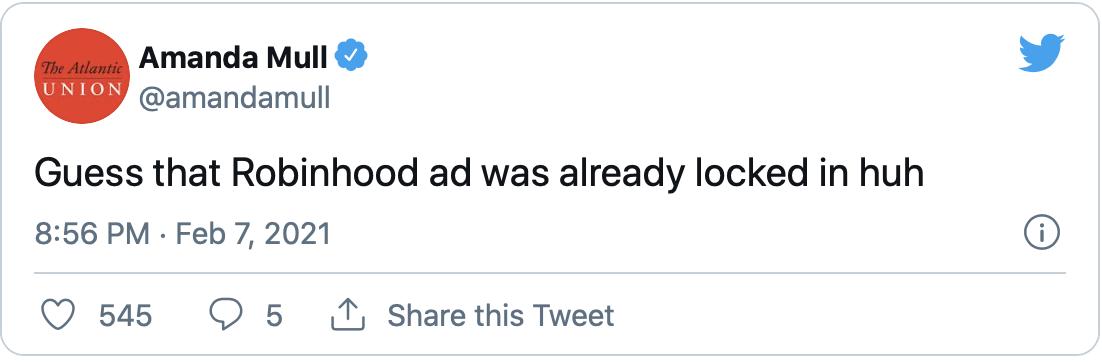 Robinhood Brand Fail of 2021 Tweet