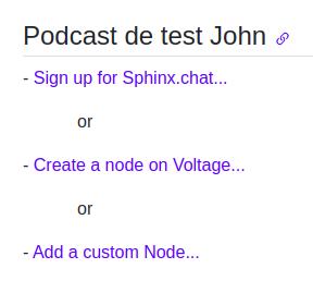 Comment ajouter un nouveau node à PodcasterWallet