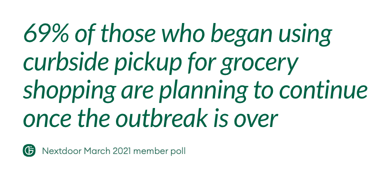 Quote: 69% of those who began using curbside pickup for grocery shopping are planning to continue once the outbreak is over