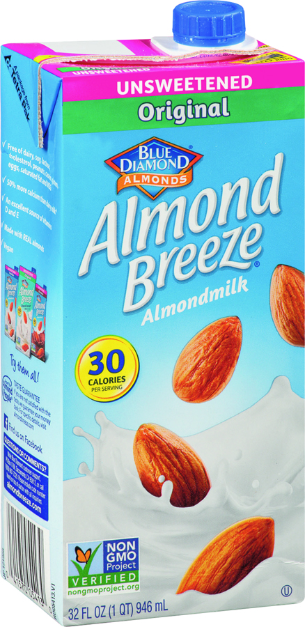 a container of almond milk