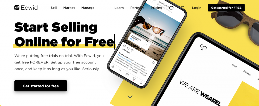 página inicial do ecwid ecommerce shopping cart