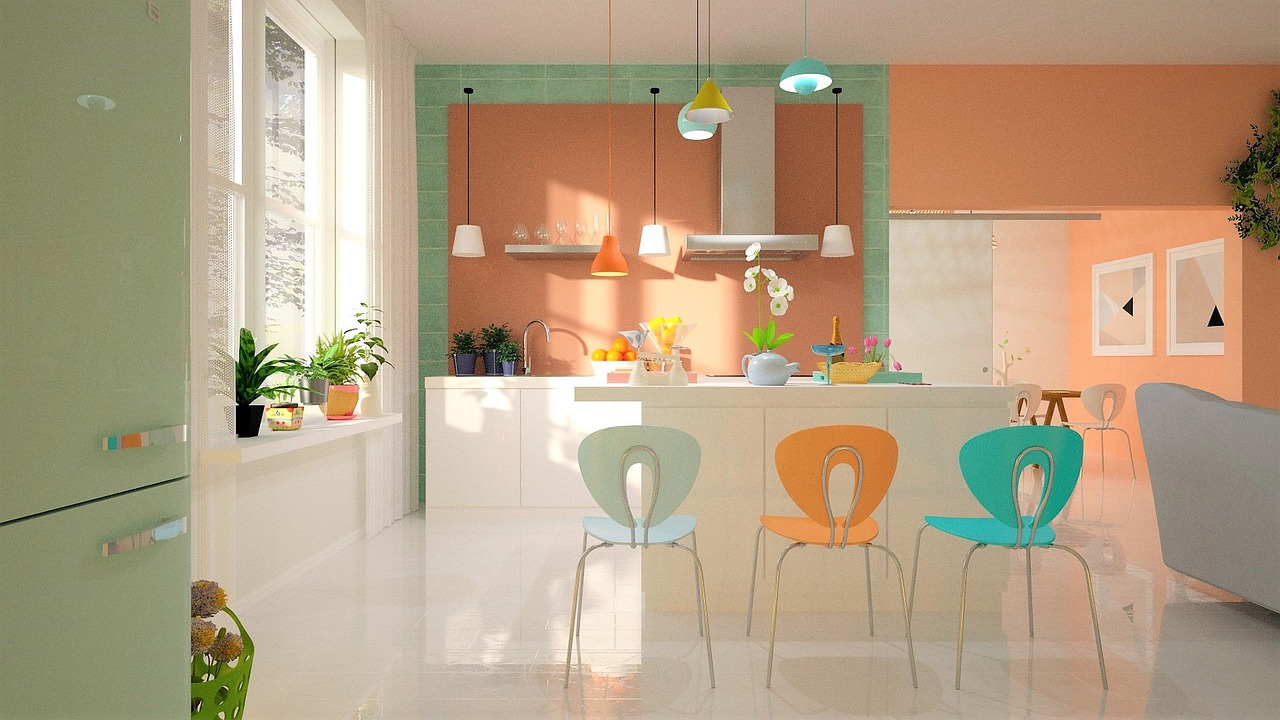 colourful kitchen with innovative light fixtures that help create a calm living space