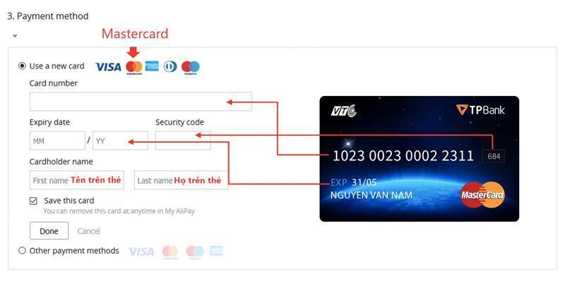 Điền thẻ thanh toán master