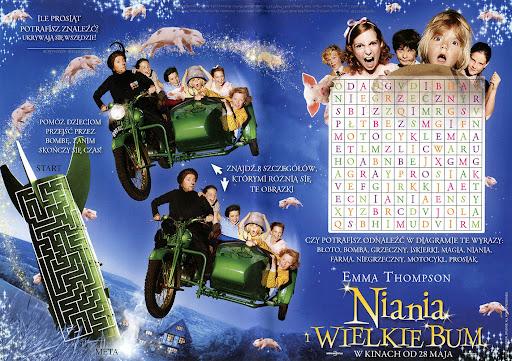 Przód ulotki filmu 'Niania i Wielkie Bum'