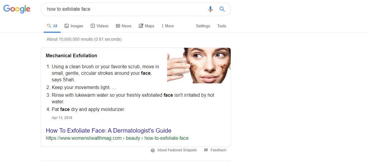 Example of a featured snippet in Google search results