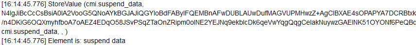 Fragment of an LMS log that shows Base64 encoding of the cmi.suspend_data