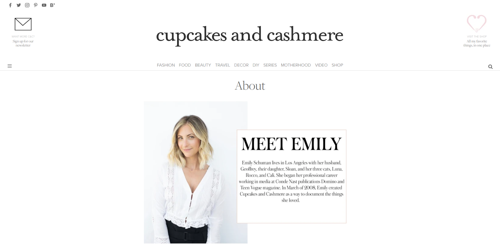 website design example about us page