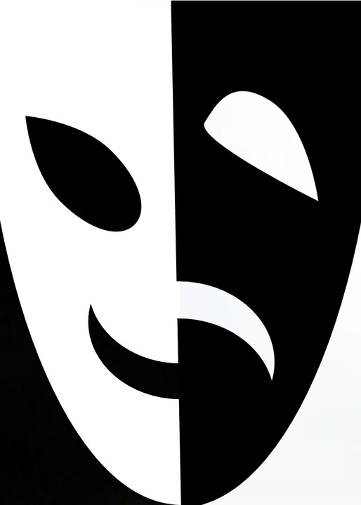 Free illustration: Mask, Black, White, Happy, Sad - Free Image on ...