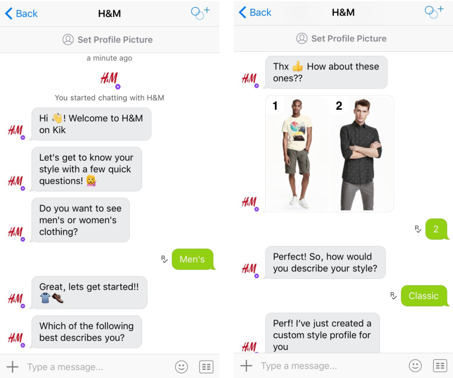 H&M apparel store chatbot