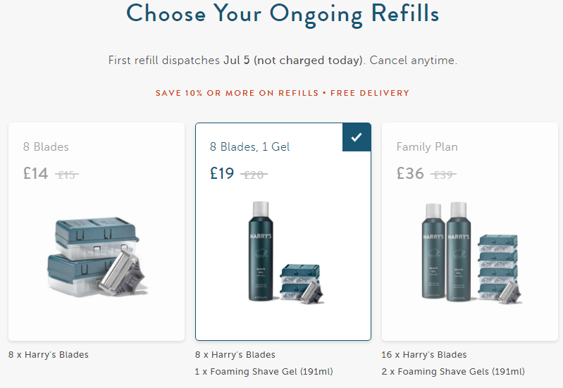 Coffee offer in physical products. Customization of subscription: content. Harry's.