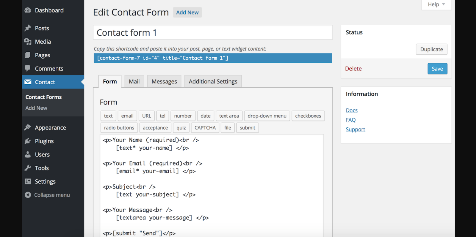 Contact form 7- get in touch with your customers by adding a contact form to your blog
