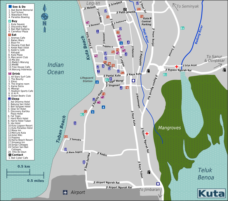 map of kuta, bali