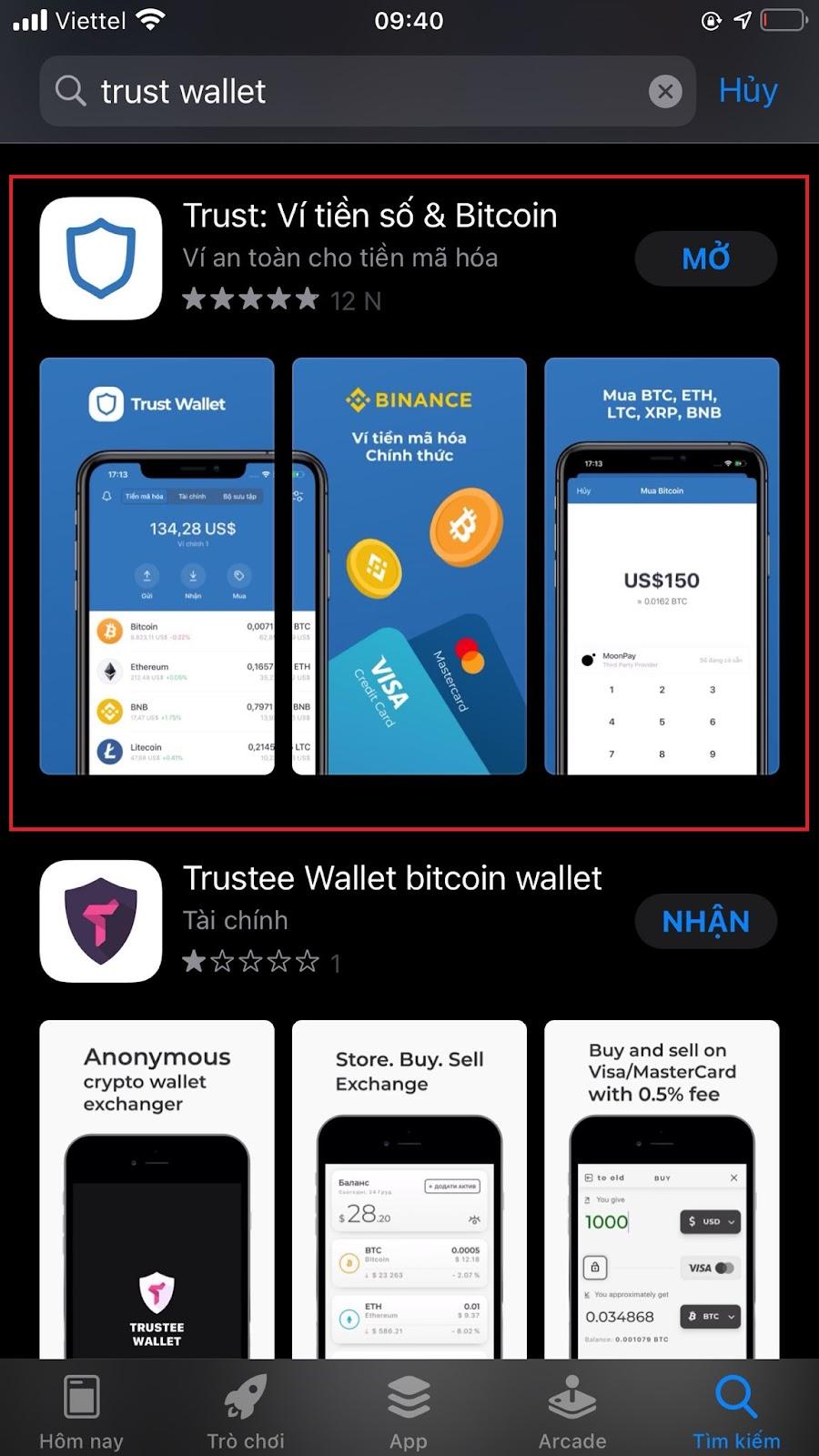 tải xuống ví Trust Wallet qua App Store