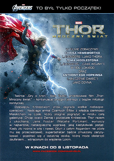 Tył ulotki filmu 'Thor: Mroczny Świat'