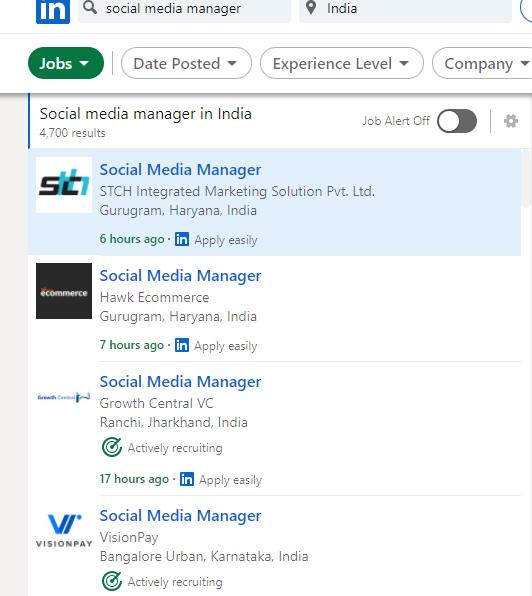 social media manager job opening on LinkedIn