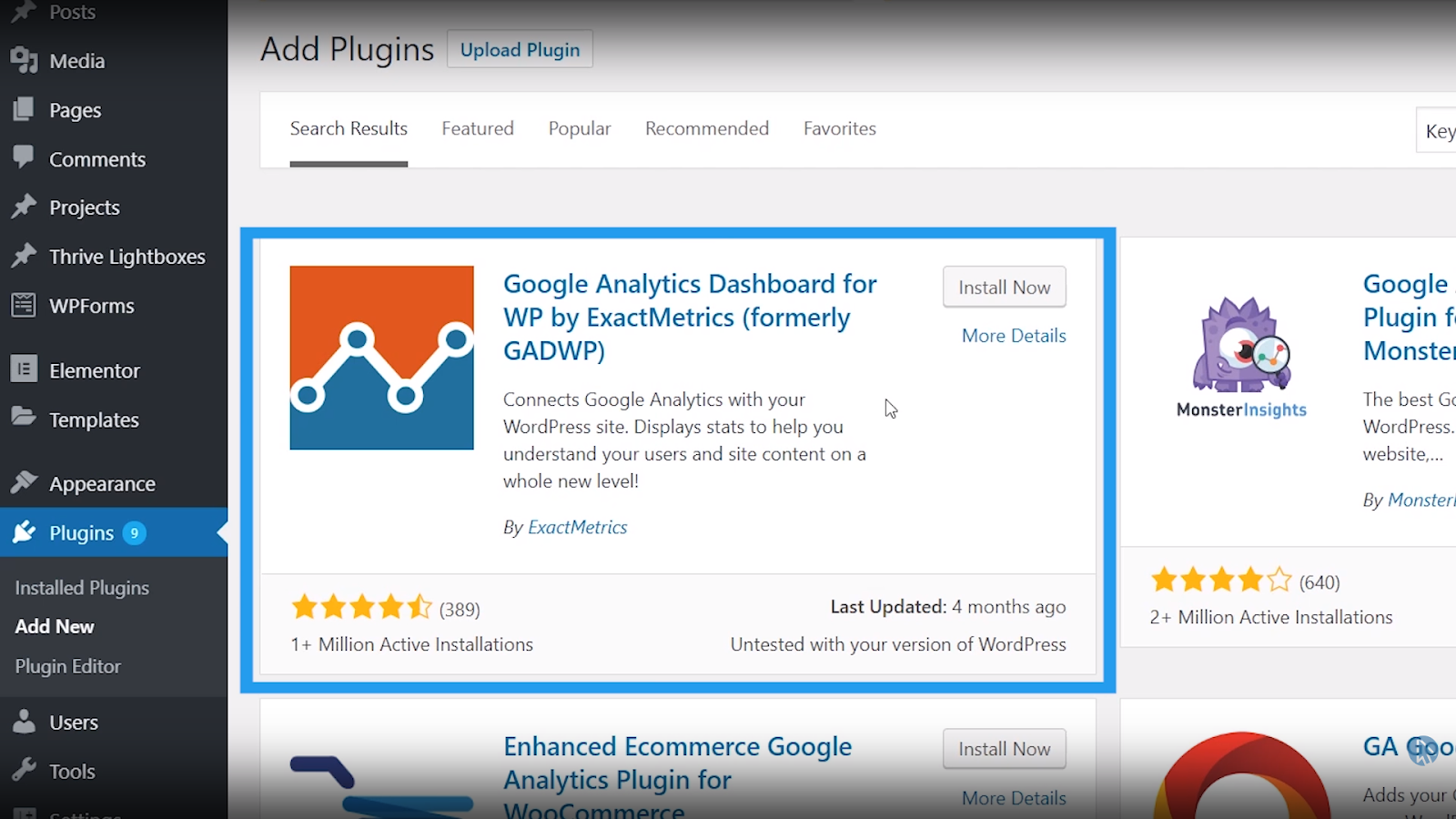 wordpress google analytics plugin install