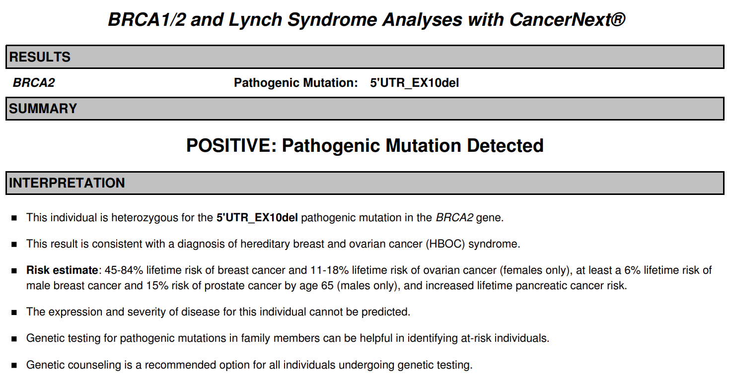 The first page of the CancerNext sample report showing a negative result.